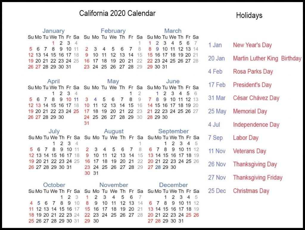 Free California 2020 Printable Calendar With Public Holidays-Calendar For 2020 Indicating Public Holidays
