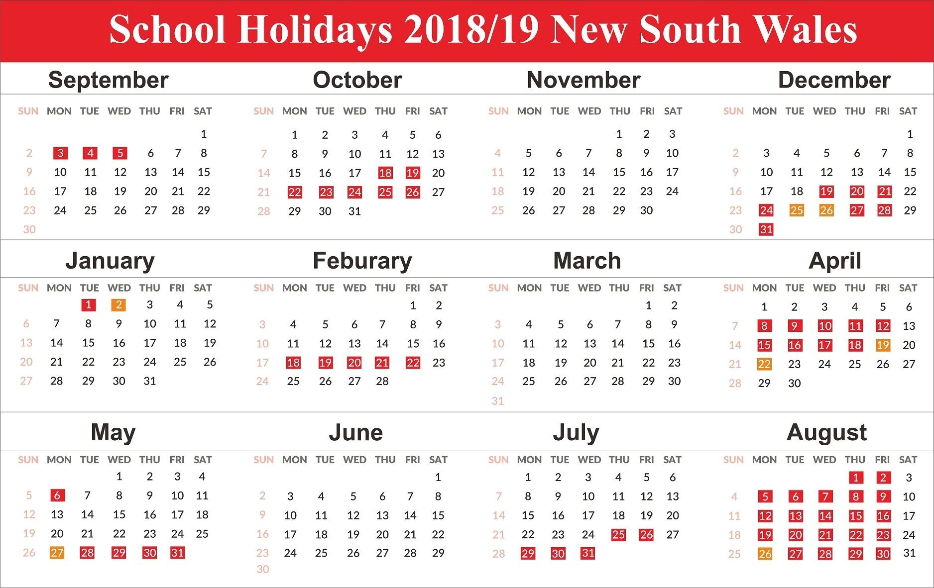 Free Editable School Holidays 2019 Nsw {New South Wales-Saudi Bank Holidays 2020