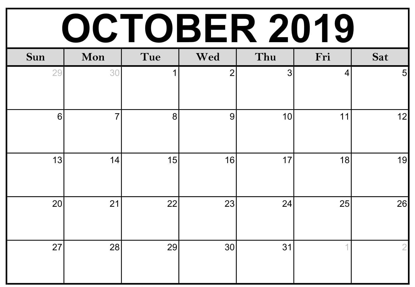 Free Fillable Calendar For October 2019 Printable Editable-Calendar Template Fillable Pdf
