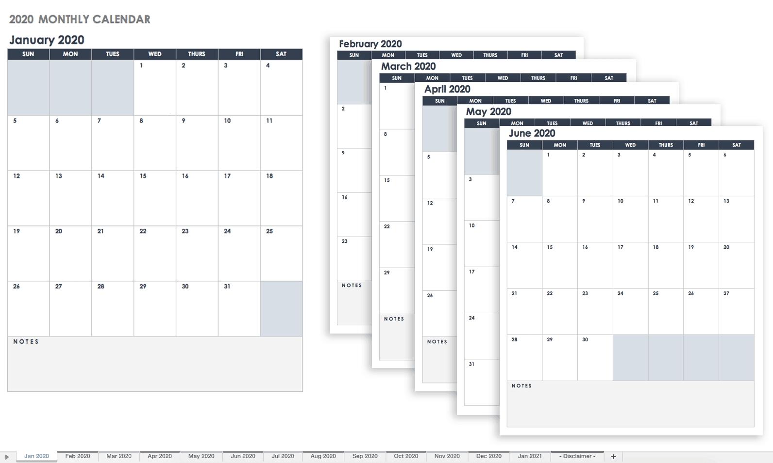 Free Google Calendar Templates | Smartsheet-Monthly Calendar Google Sheets