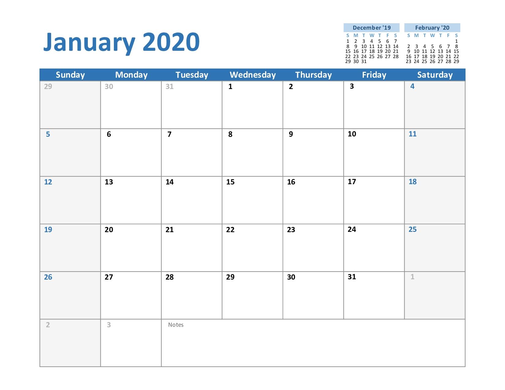 Free January 2020 Printable Calendar Blank In Pdf, Excel-Microsoft Word Calendar Template 2020 Edit