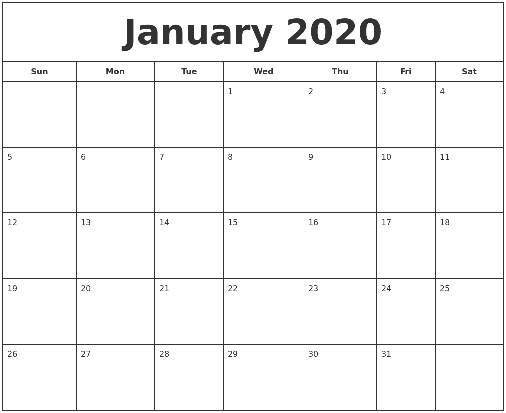 Free January Calendar 2020 Printable Template Blank In Pdf-Monthly Calendars 2020 Printable Free 2-Pages Blank