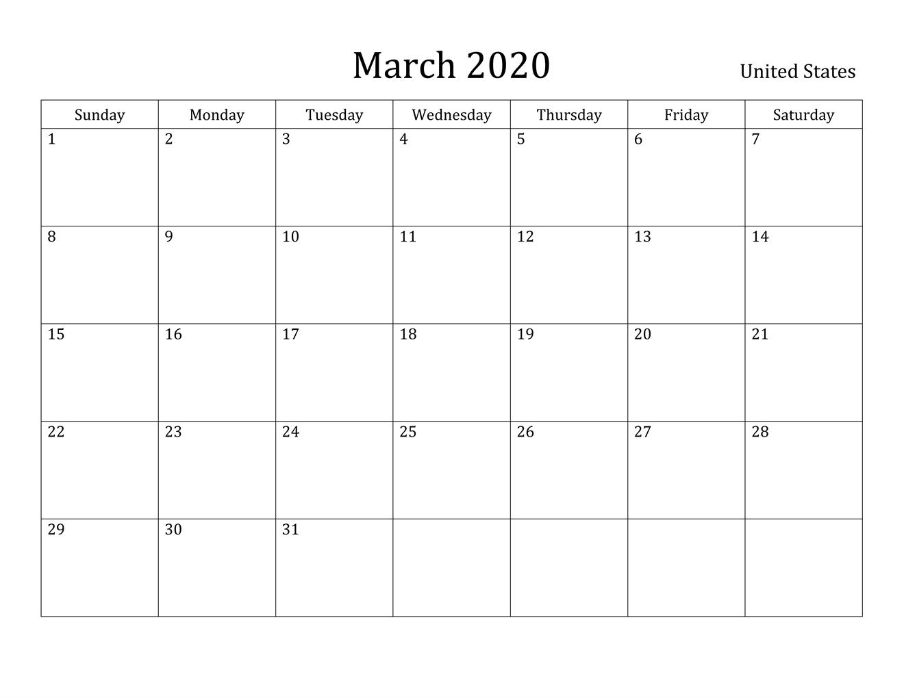 Free March 2020 Printable Calendar - Blank Templates --Print Blank Attendance Calendar 2020