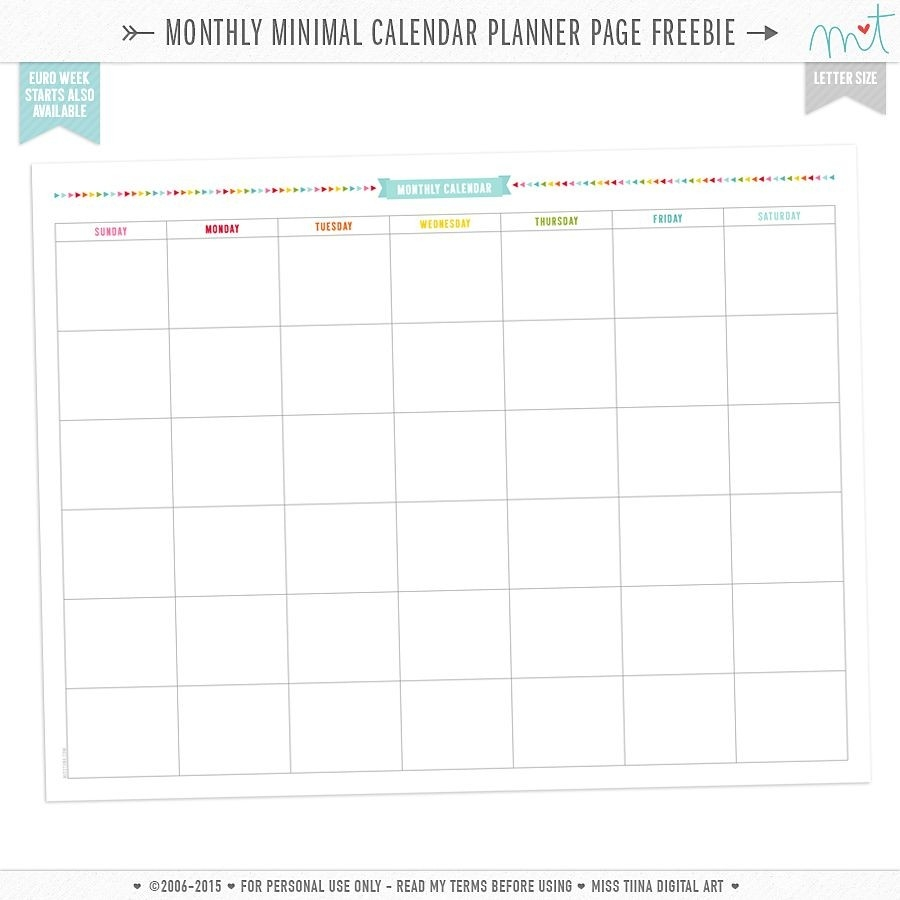Free Monthly Minimal Calendar Planner Page Printables-Blank Monthly Calendar Printable 8.5 X 11