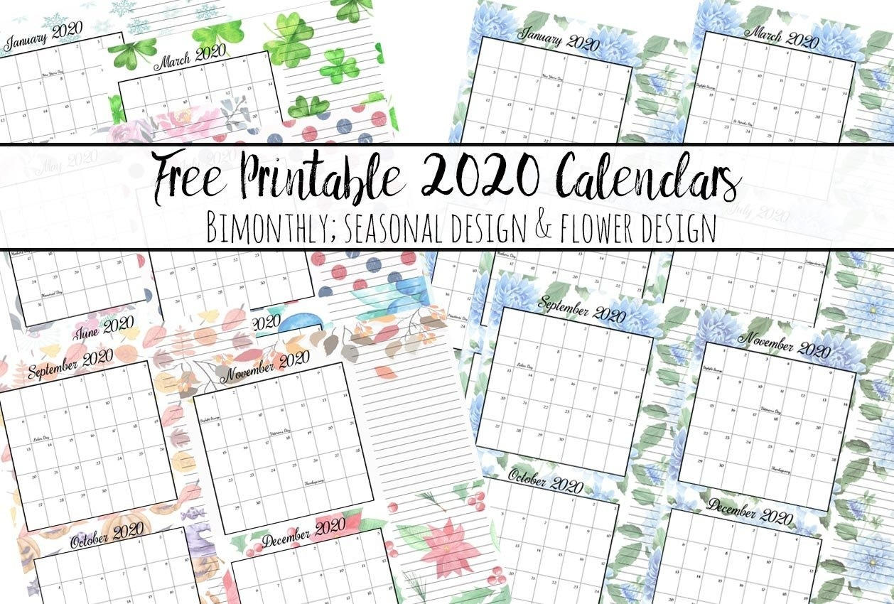 Free Printable 2020 Bimonthly Calendars With Holidays: 2 Designs-Free Printable Two Page Monthly Calendar 2020