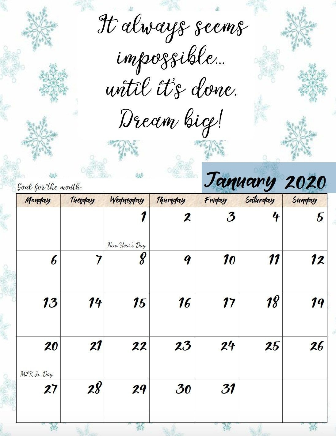 Free Printable 2020 Monday Start Monthly Motivational-2020 Monthly Calendars Starting With Monday