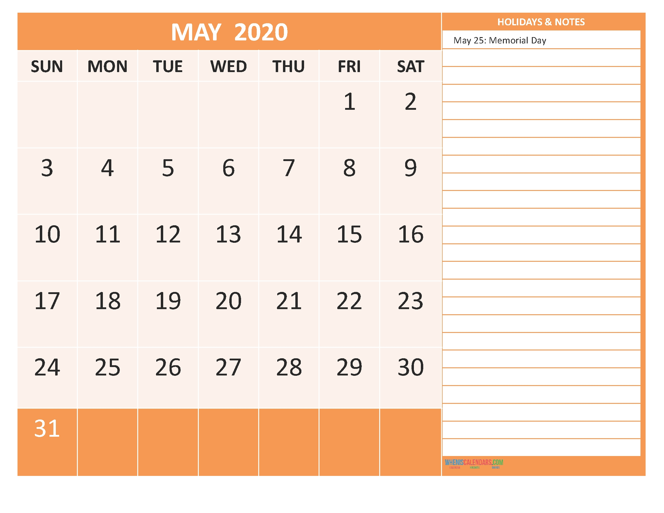 Free Printable 2020 Monthly Calendar With Holidays May-2020 Monthly Calendars To Print With Jewish Holidays