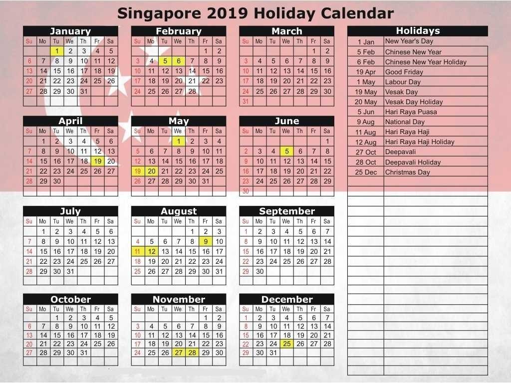 Free Printable 2020 Singapore Calendar With Public Holidays-Calendar For 2020 Indicating Public Holidays