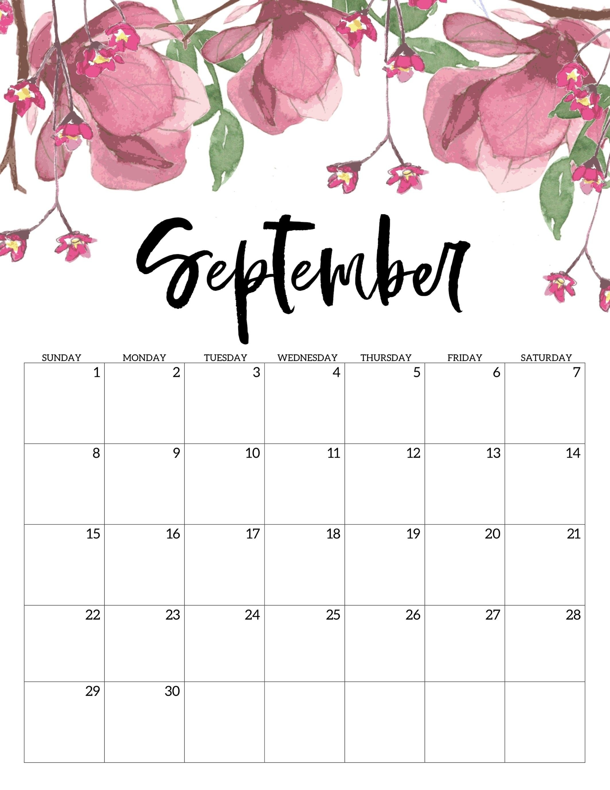Free Printable Calendar 2019 - Floral - Paper Trail Design-Template For Calendars With Flowers