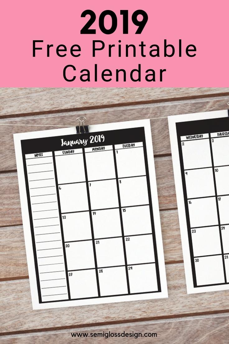 Free Printable Calendar For 2019 | Free Printable Calendar-Printable Blank Monthly Calendar 2 Pages
