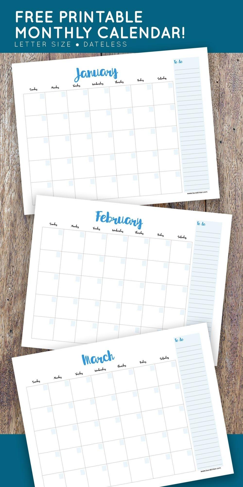 Free Printable Calendar | Free Printable Calendar, Printable-Printable Monthly Calendar Sunday To Saturday No Dates