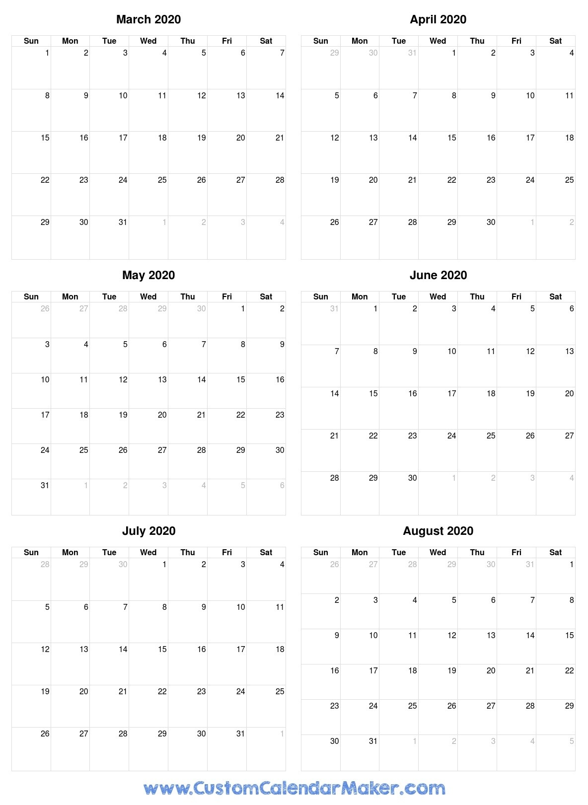 Free Printable Calendars, Blank Pdf Templates To Print A-6 Months On One Page Template