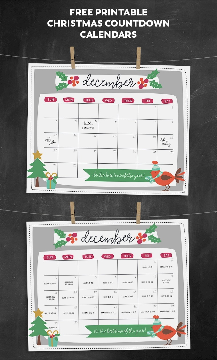 Free Printable Christmas Countdown Calendar For December | 2-Holiday Countdown Template Printable