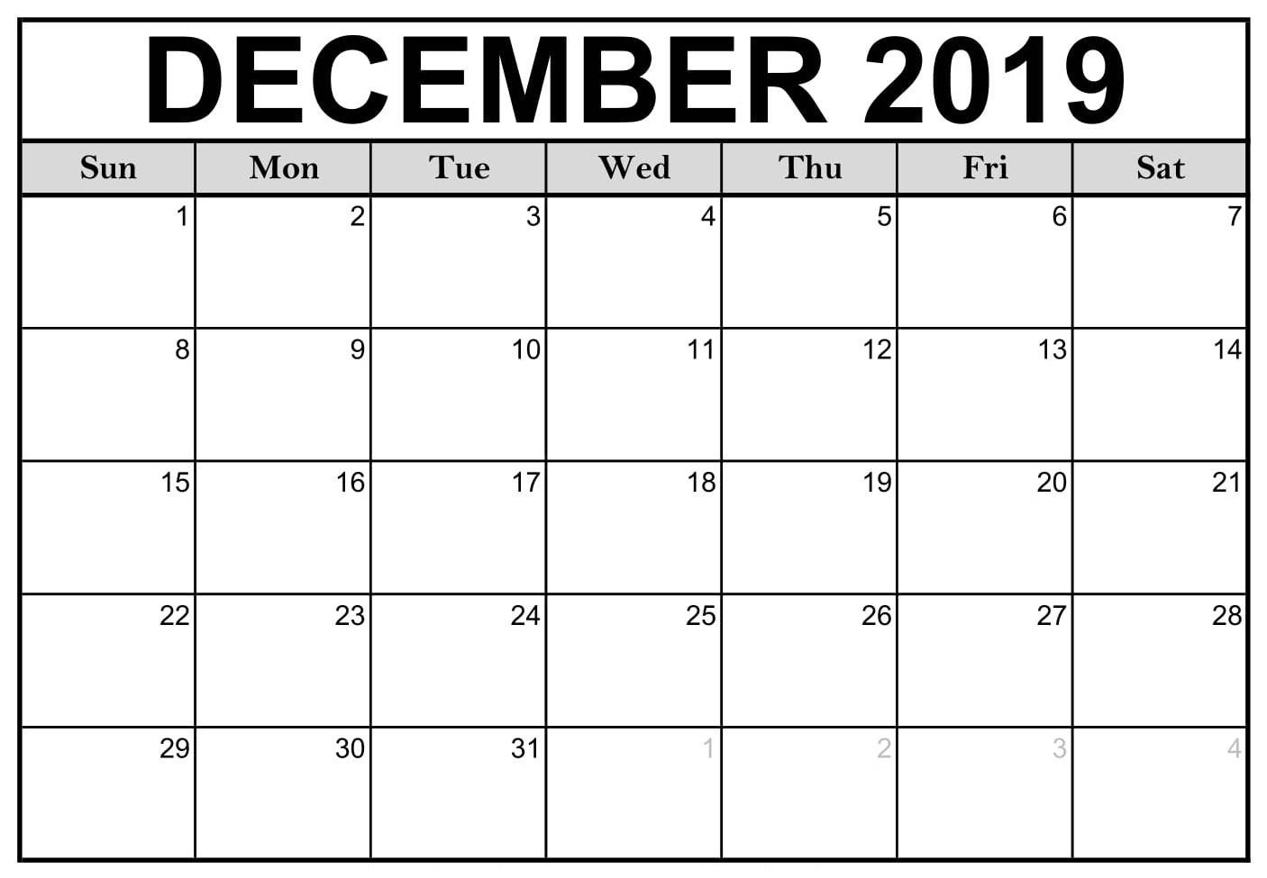 Free Printable December 2019 Calendar Notes - 2019 Calendars-December Canada Printable Calendar Free Monthly