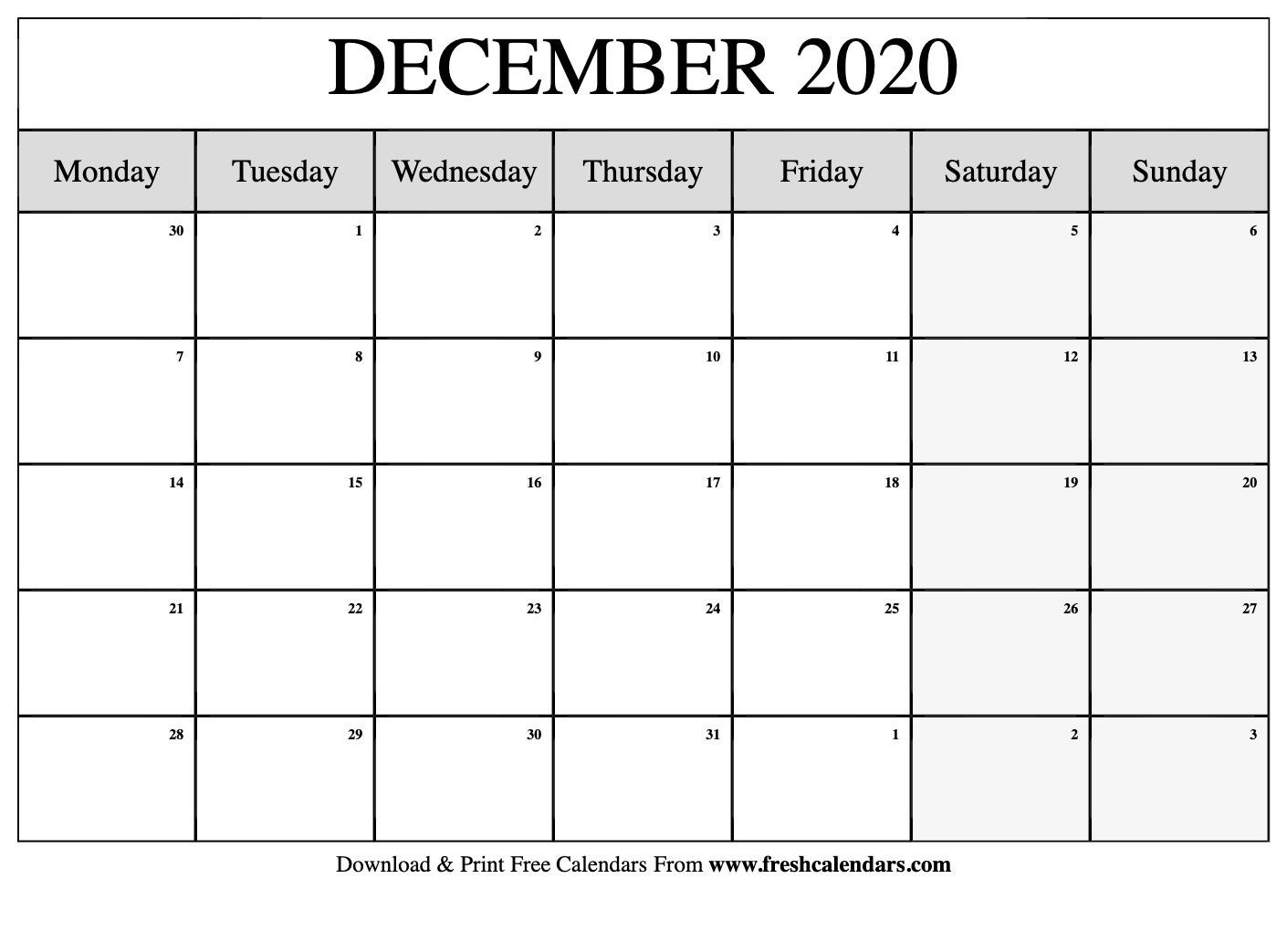 Free Printable December 2020 Calendar-Blank Monthly Calendar Monday Start