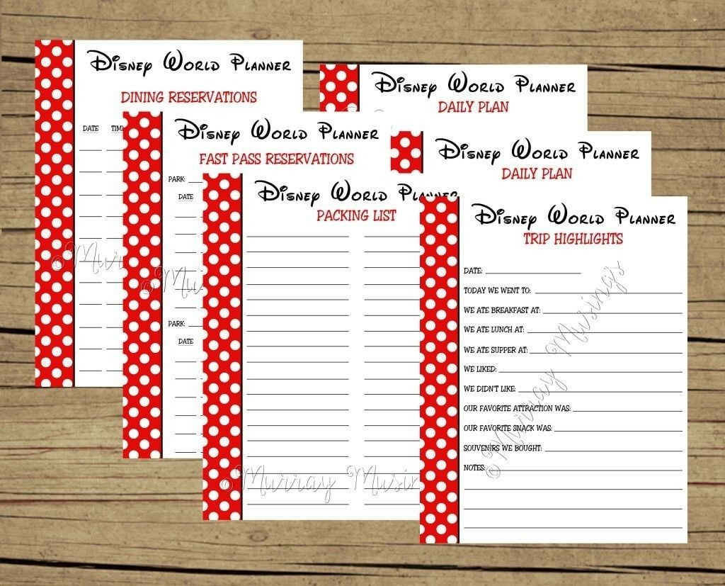 Free Printable Disney World Vacation Planner #freeprintable-Disney Free Itinerary Template
