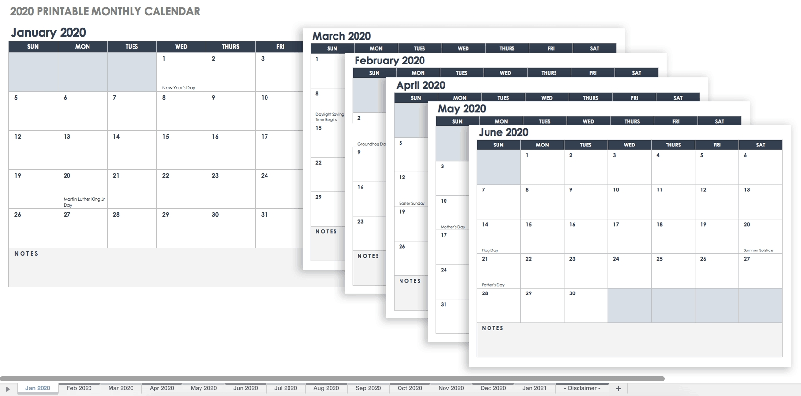 Free, Printable Excel Calendar Templates For 2019 & On-Printable 2020 Attendance Calendar Template