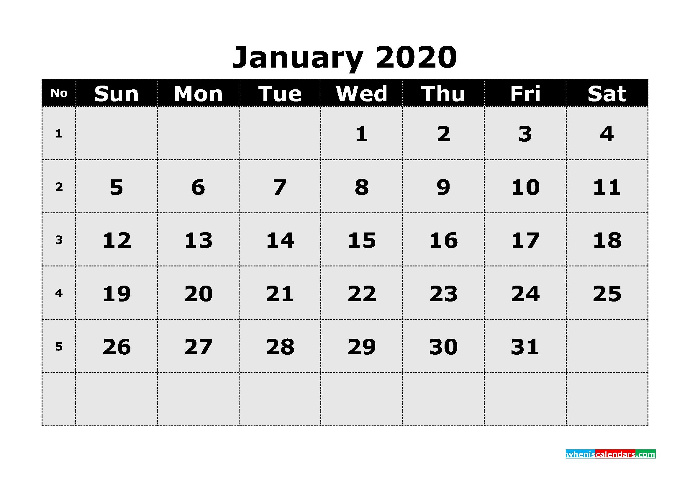 Free Printable January 2020 Calendar Template Word | Free-Microsoft Word Template 2020 Calendar