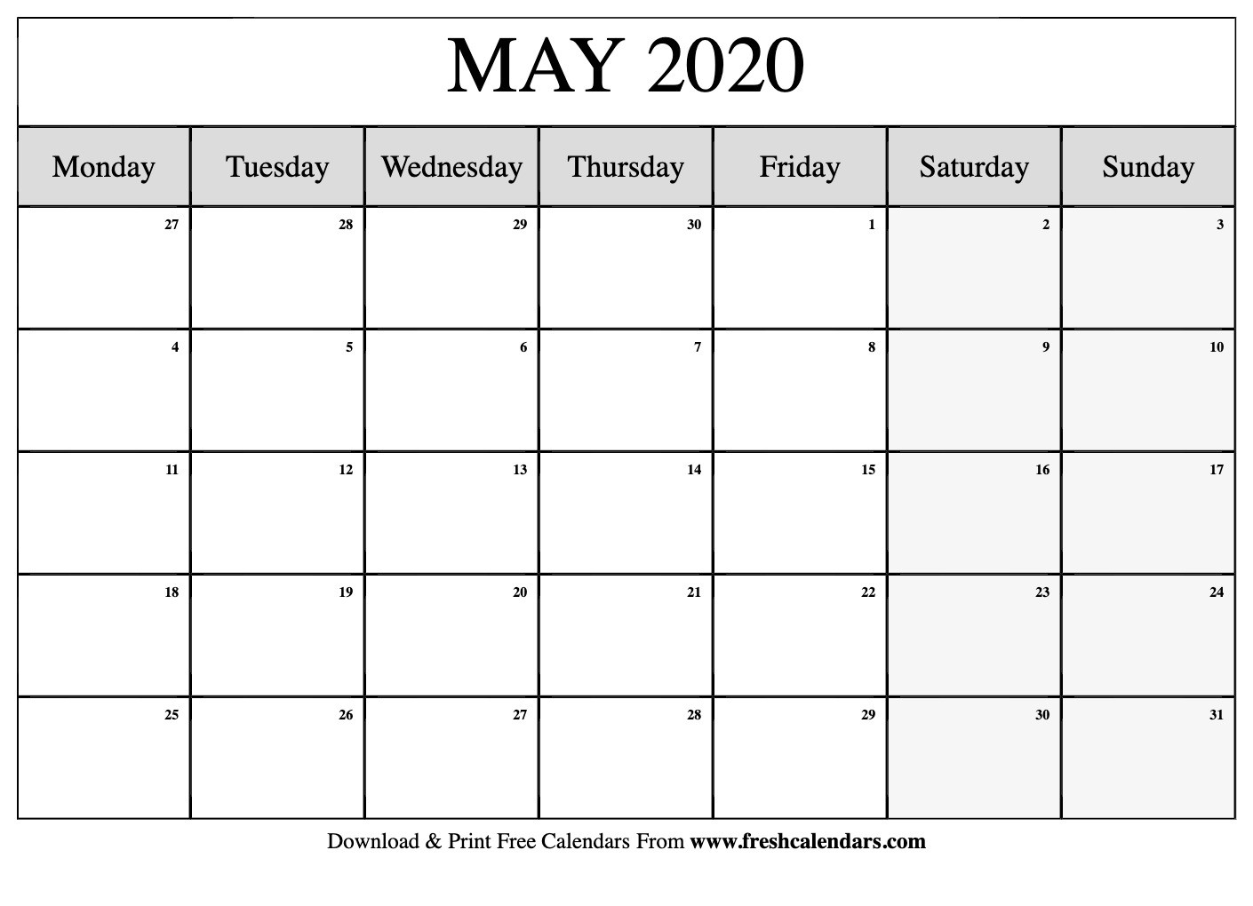 Free Printable May 2020 Calendar-Blank Monthly Planner Starts On Monday