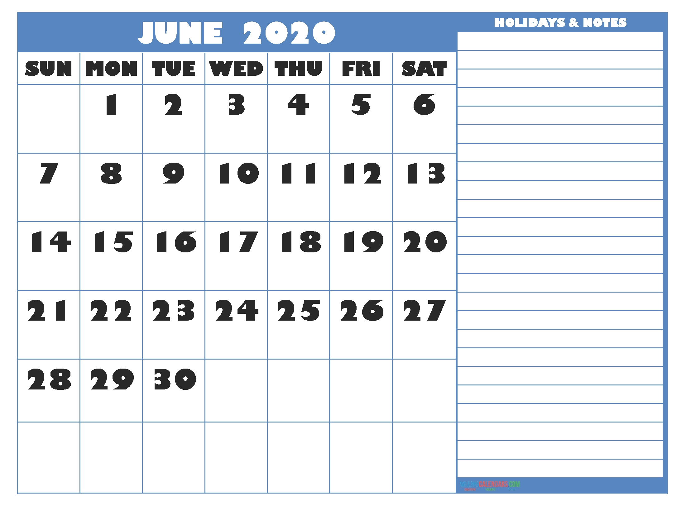 Free Printable Monthly 2020 Calendar With Holidays June-2020 Monthly Calendars To Print With Jewish Holidays