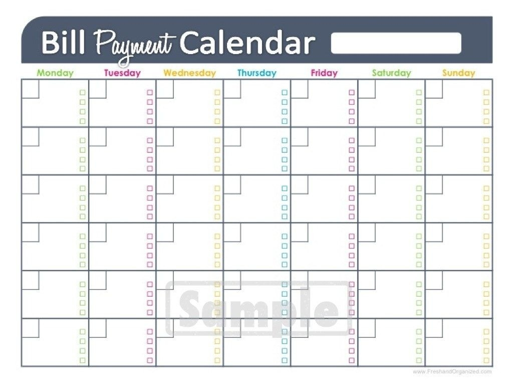 Free Printable Monthly Bill Pay Chart | Calendar Template-Blank Calendar For Monthly Bills