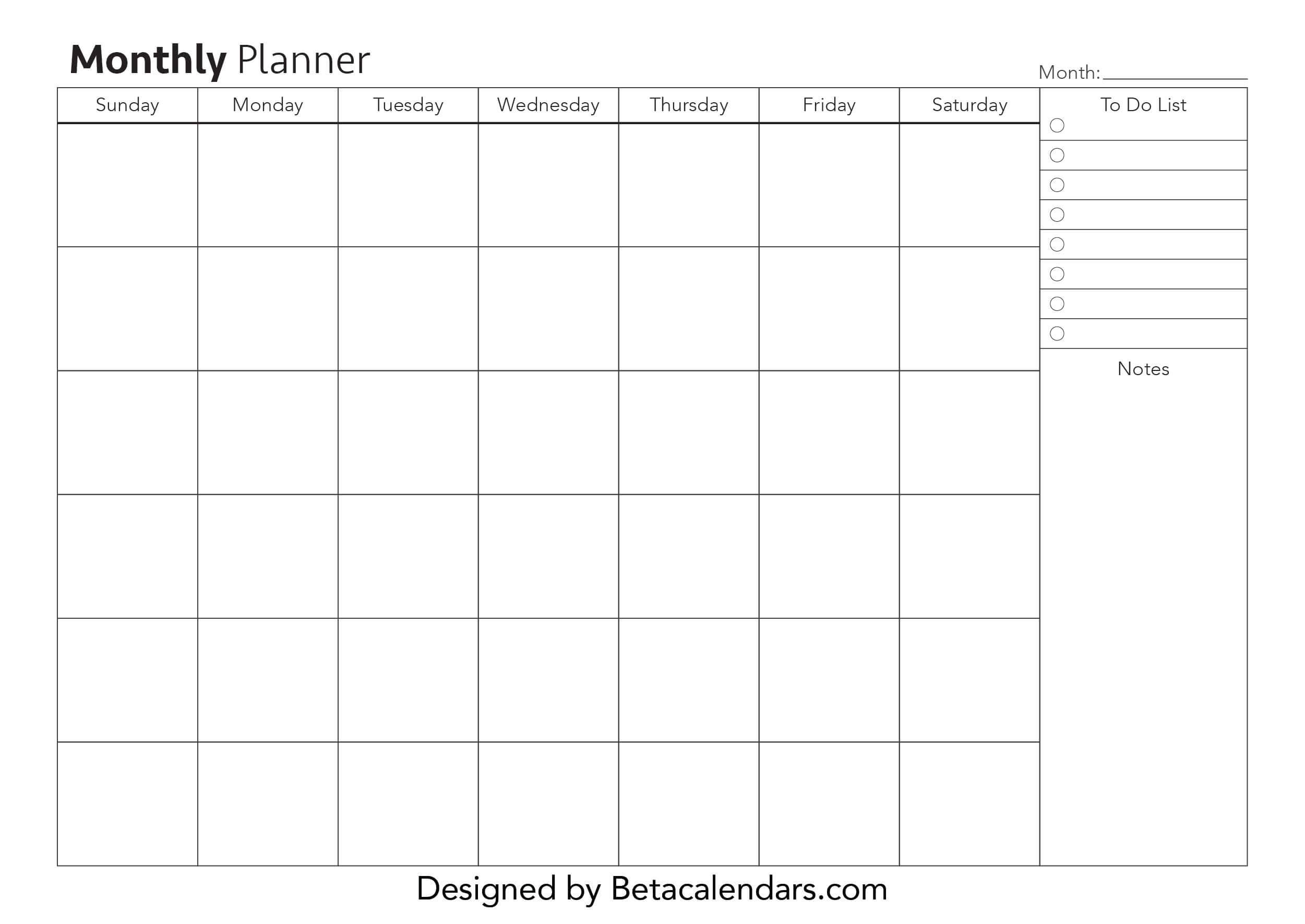 Free Printable Monthly Planner - Beta Calendars-Free Two Page Monthly Planner Templates