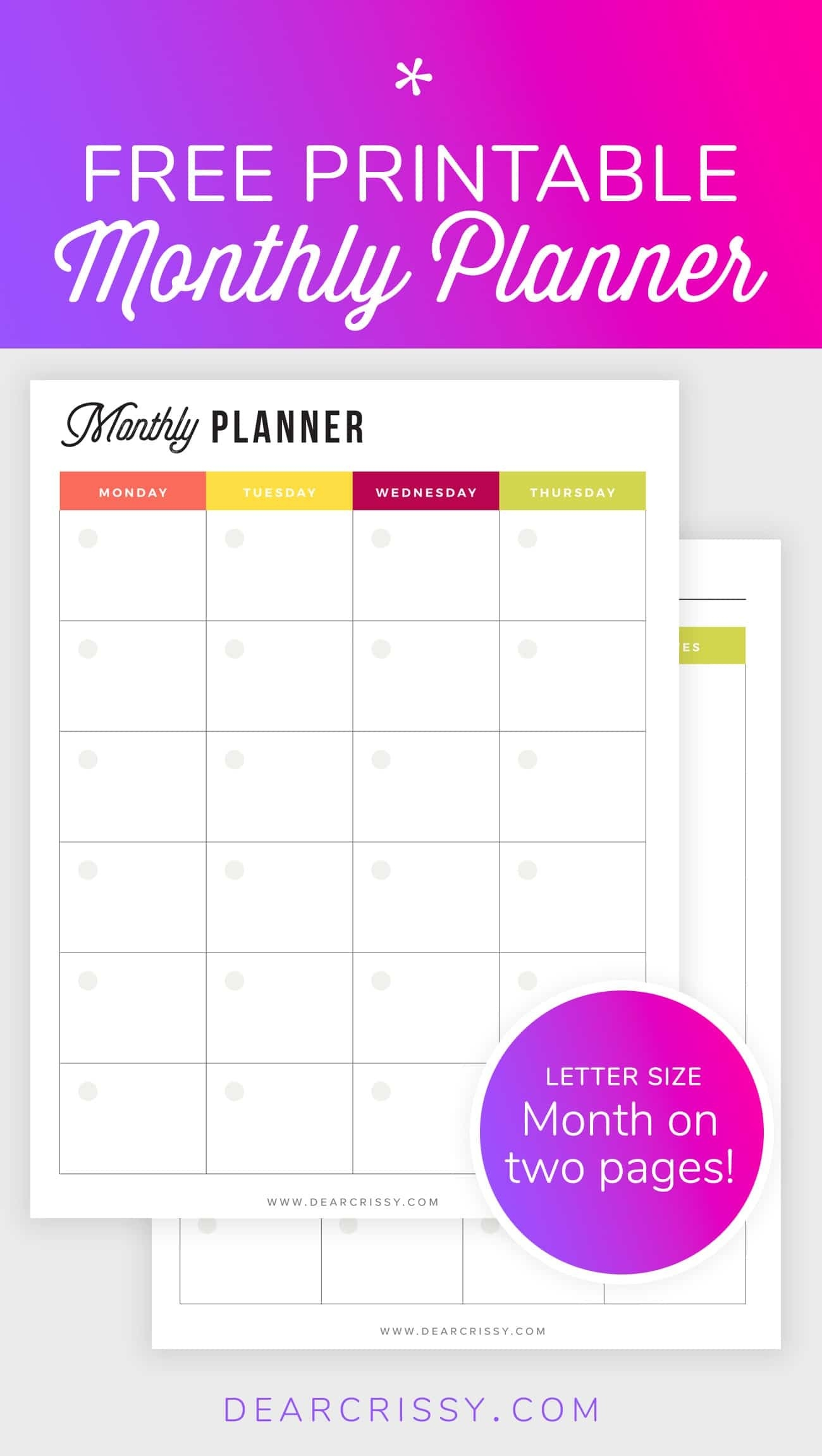 Free Printable Monthly Planner - Mo2P Letter Size Planner-Free Two Page Monthly Planner Templates