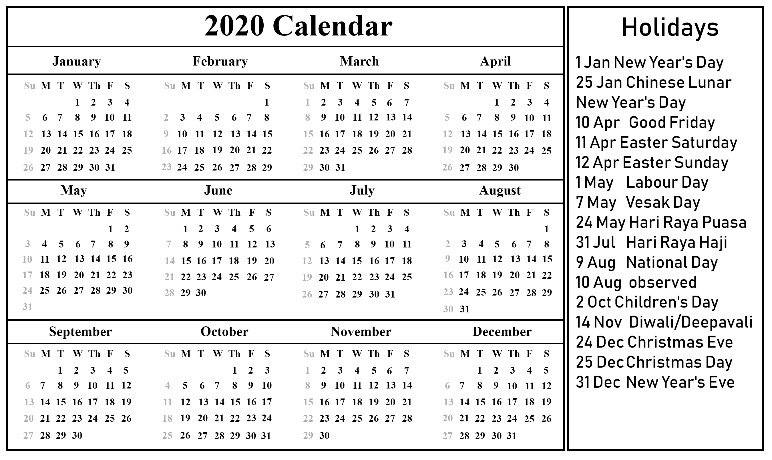 Free Printable Singapore Calendar 2020 {Pdf, Excel & Word-Excel List Of Holidays 2020