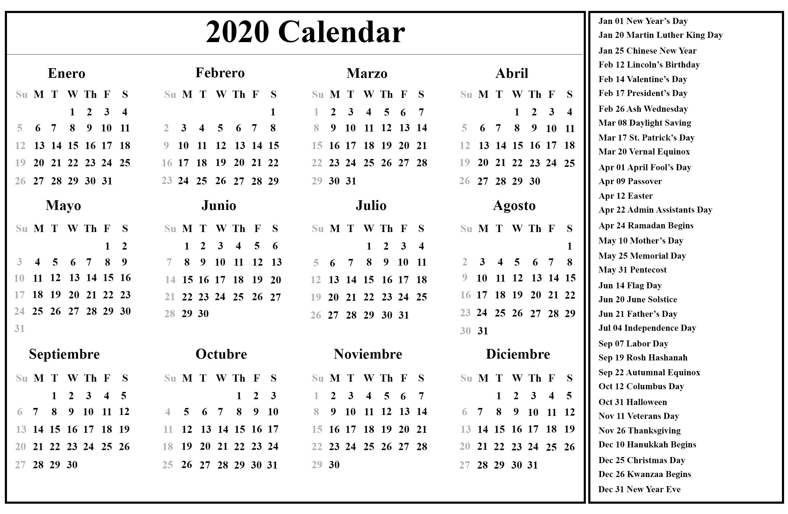 Free Printable Spanish Calendar 2020 | 2020 Calendario-2020 Calendar With Holidays In India Pdf
