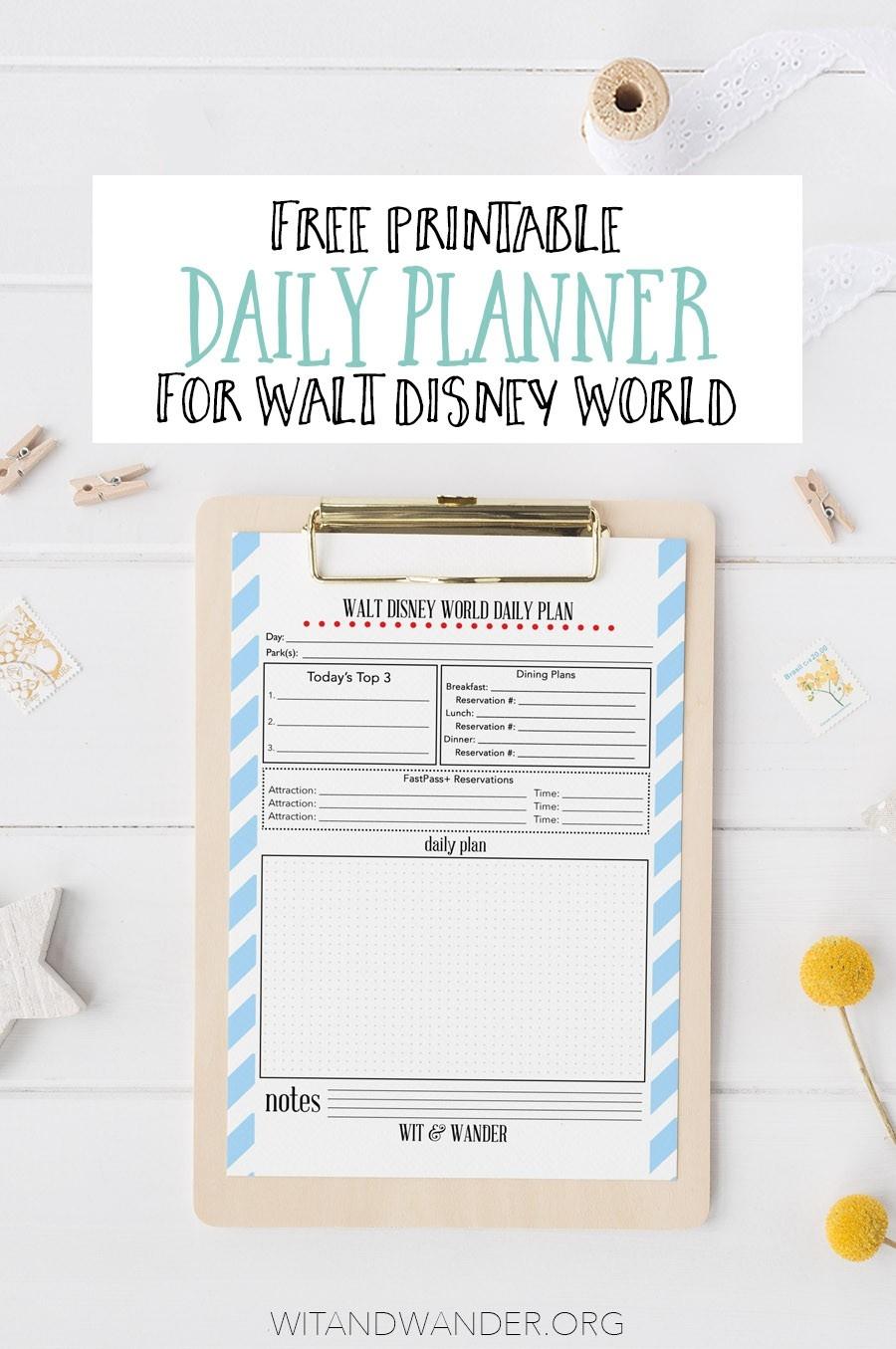 Free Printable Walt Disney World Daily Planner - Our-Disney World Word Document Template