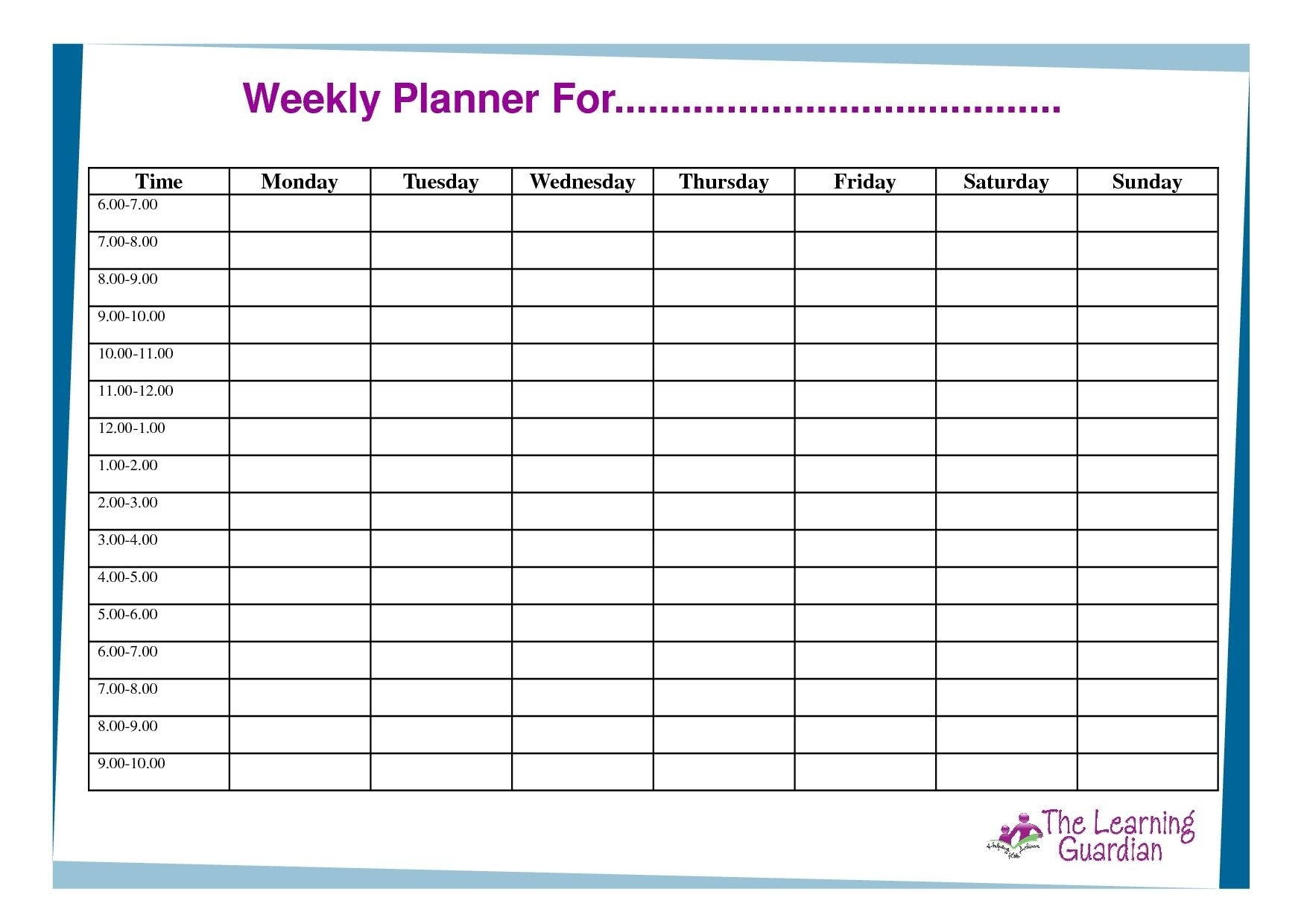 Free Printable Weekly Calendar Templates Planner For Time-Calender Templates Printable Hourly