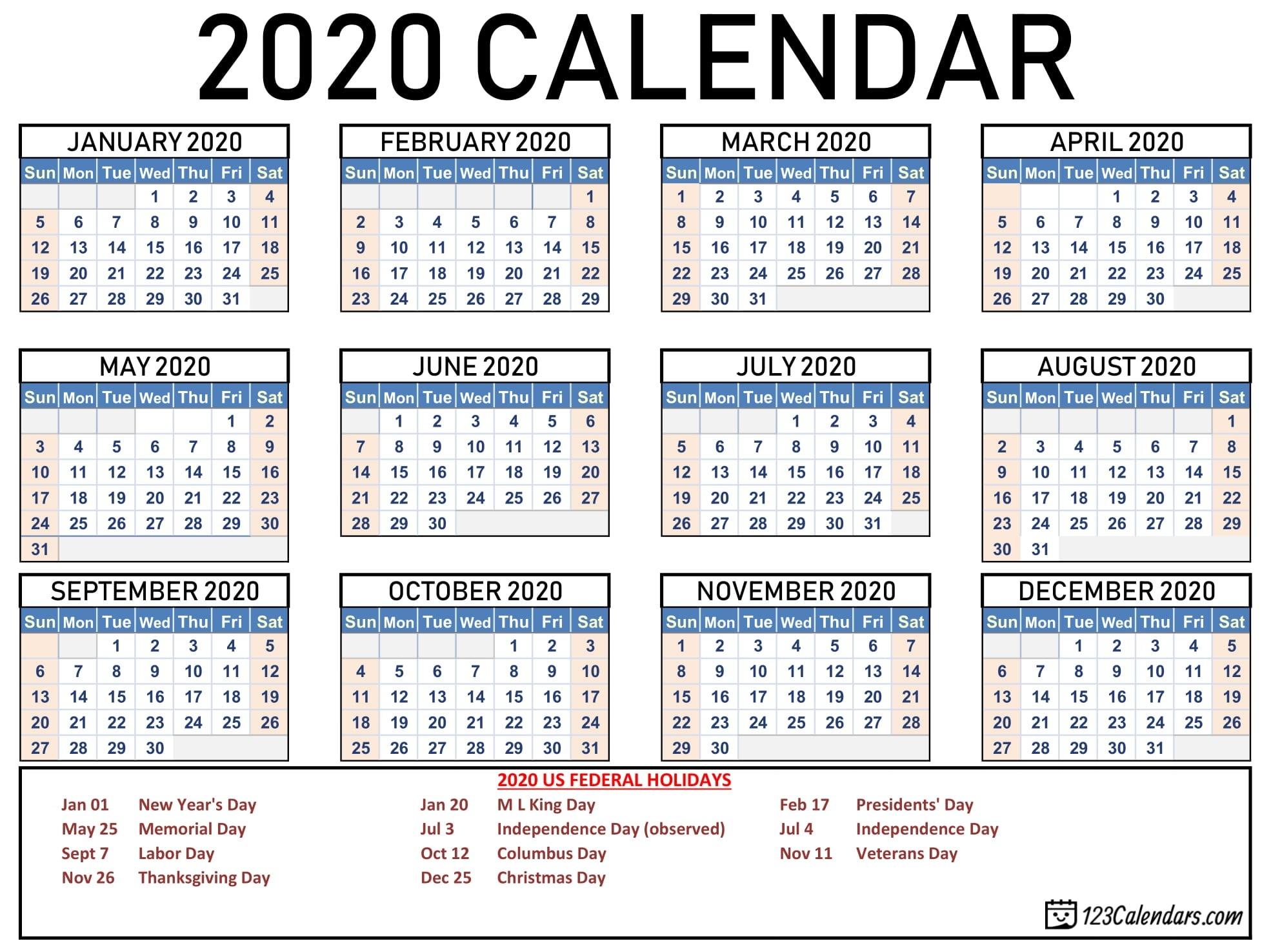Free Printable Year 2020 Calendar | 123Calendars-2020 Calendar With Holidays Listed