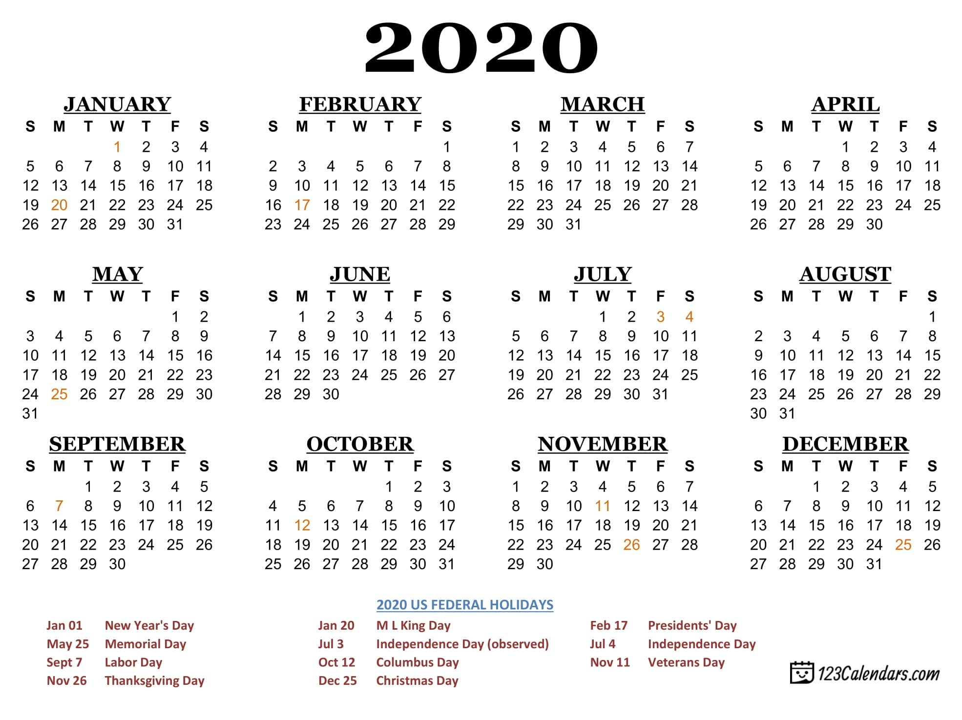 Free Printable Year 2020 Calendar | 123Calendars-2020 Calendar With Usa Legal Holidays