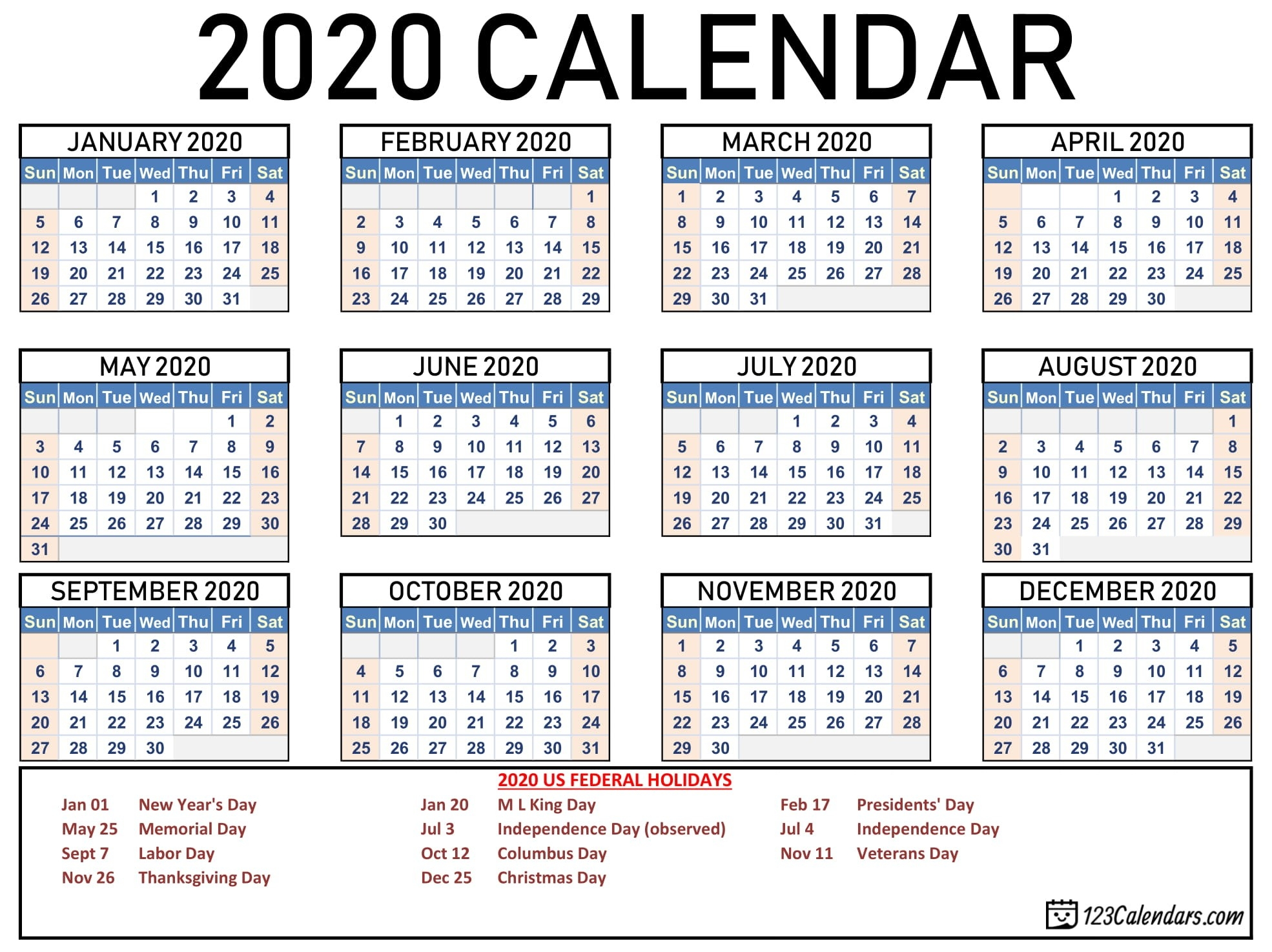 Free Printable Year 2020 Calendar | 123Calendars-Printable 2020 Calendar With Holidays Usa