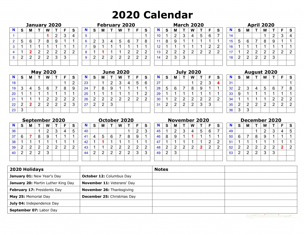 Free Printable Yearly Calendar 2020 Template [Pdf And Word-Vacation Calendar Template 2020