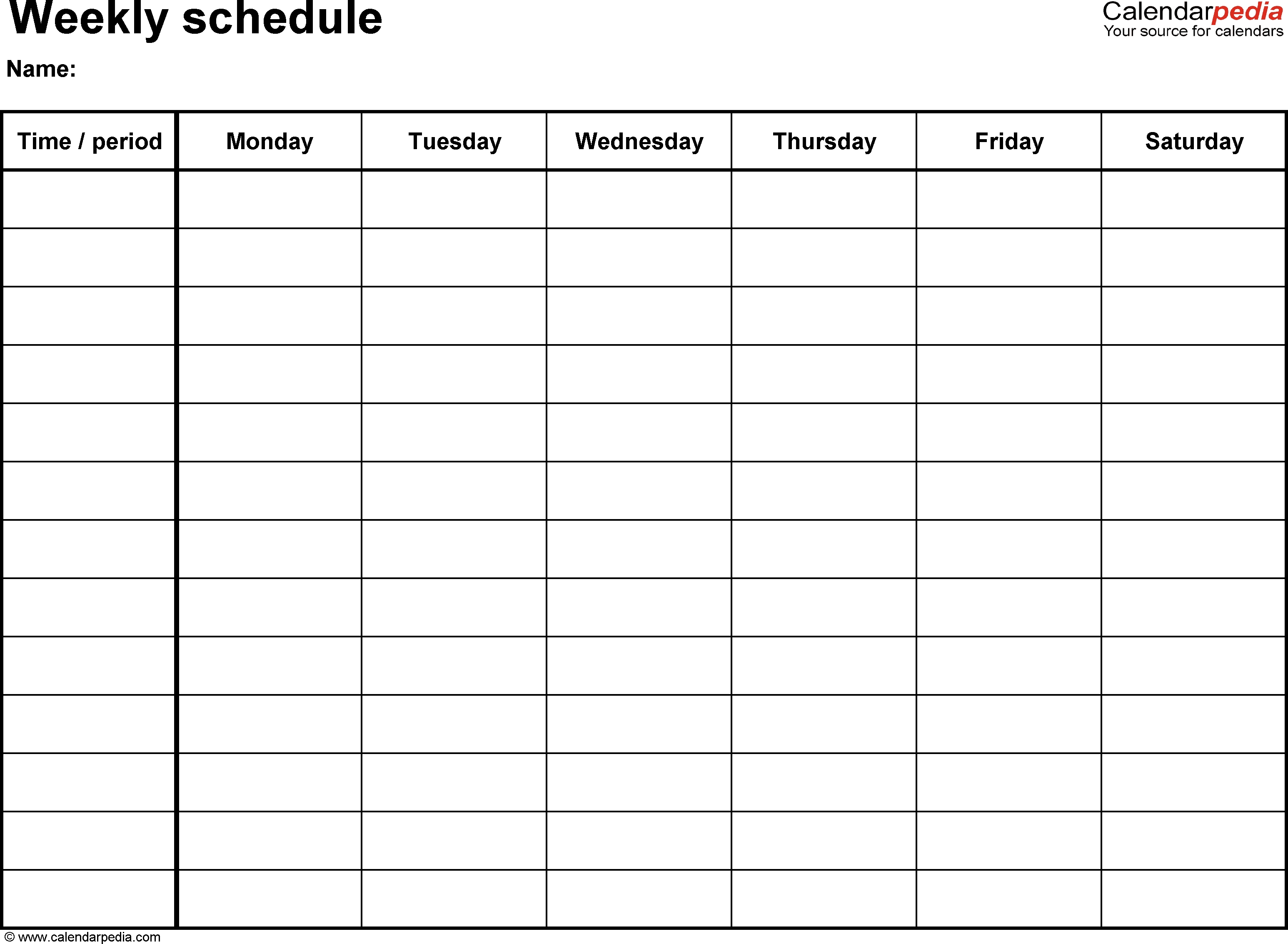 Free Weekly Schedule Templates For Word - 18 Templates-Calendar Fill In Templates