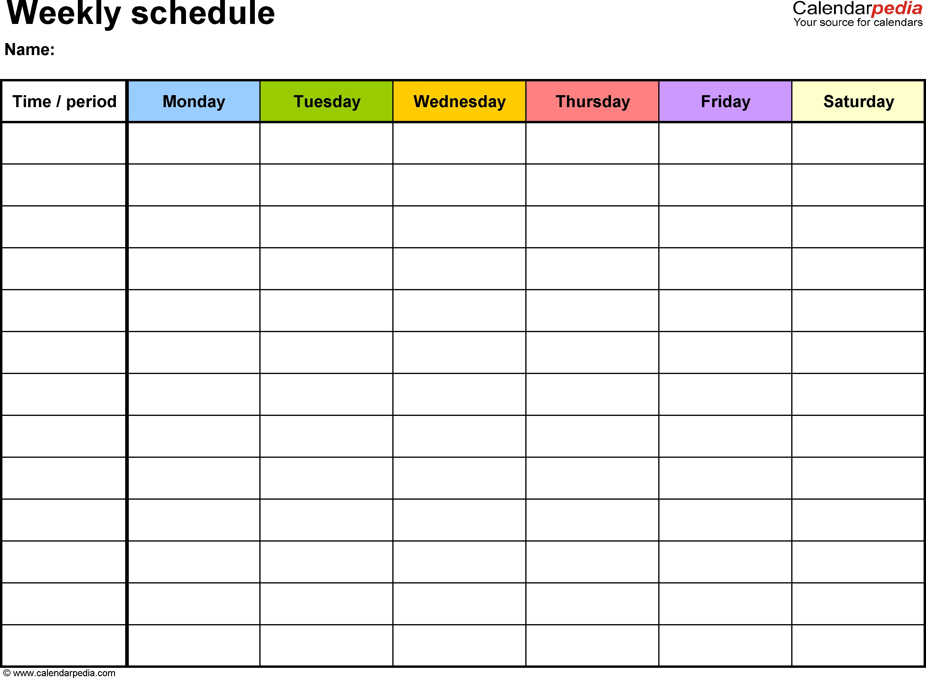 Free Weekly Schedule Templates For Word - 18 Templates-Free Printable Monday-Friday Monthly Calendar