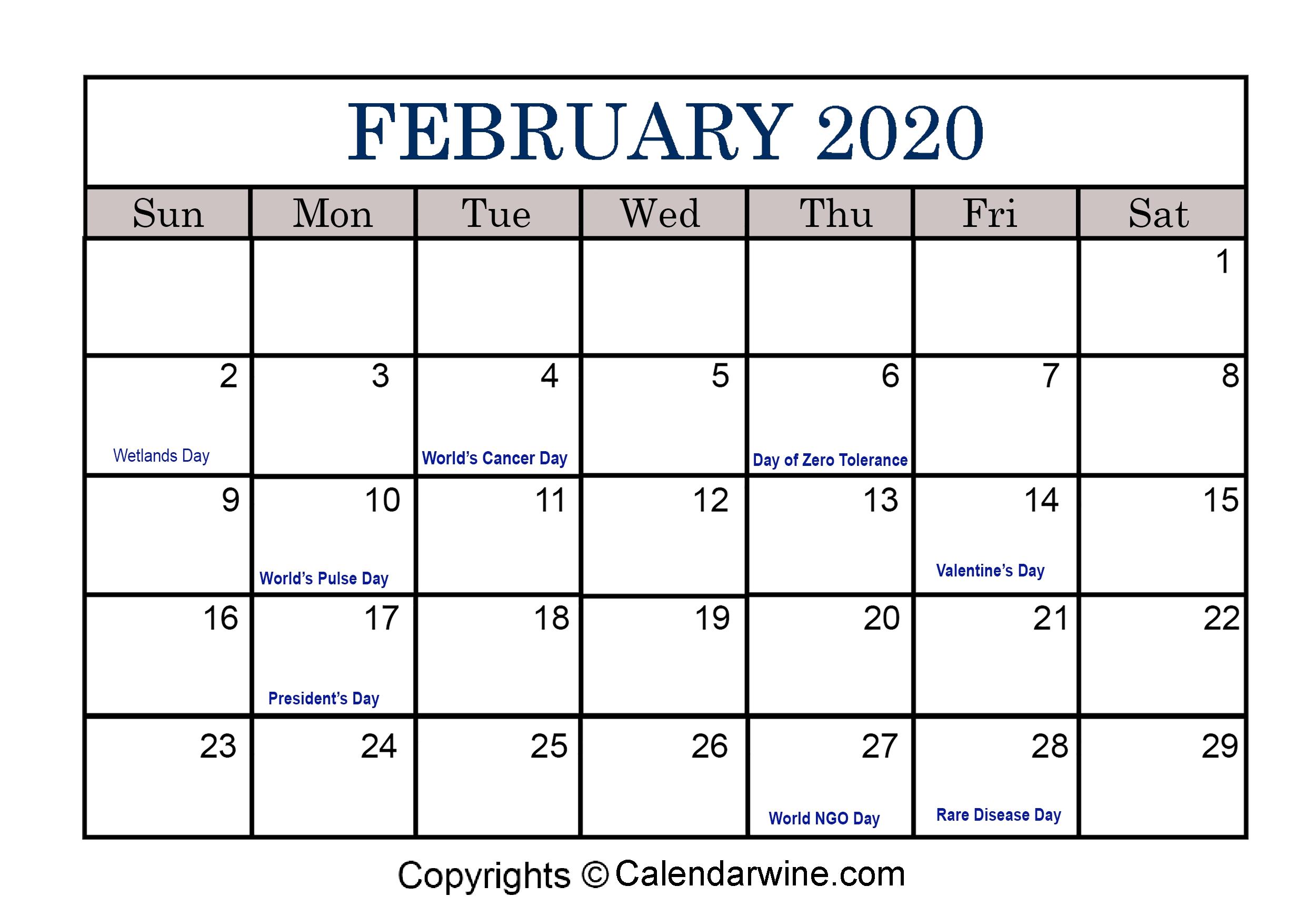 Full List Of February Holidays 2020 For Usa Uk Canada-2020 Calendar With Jewish Holidays Printable