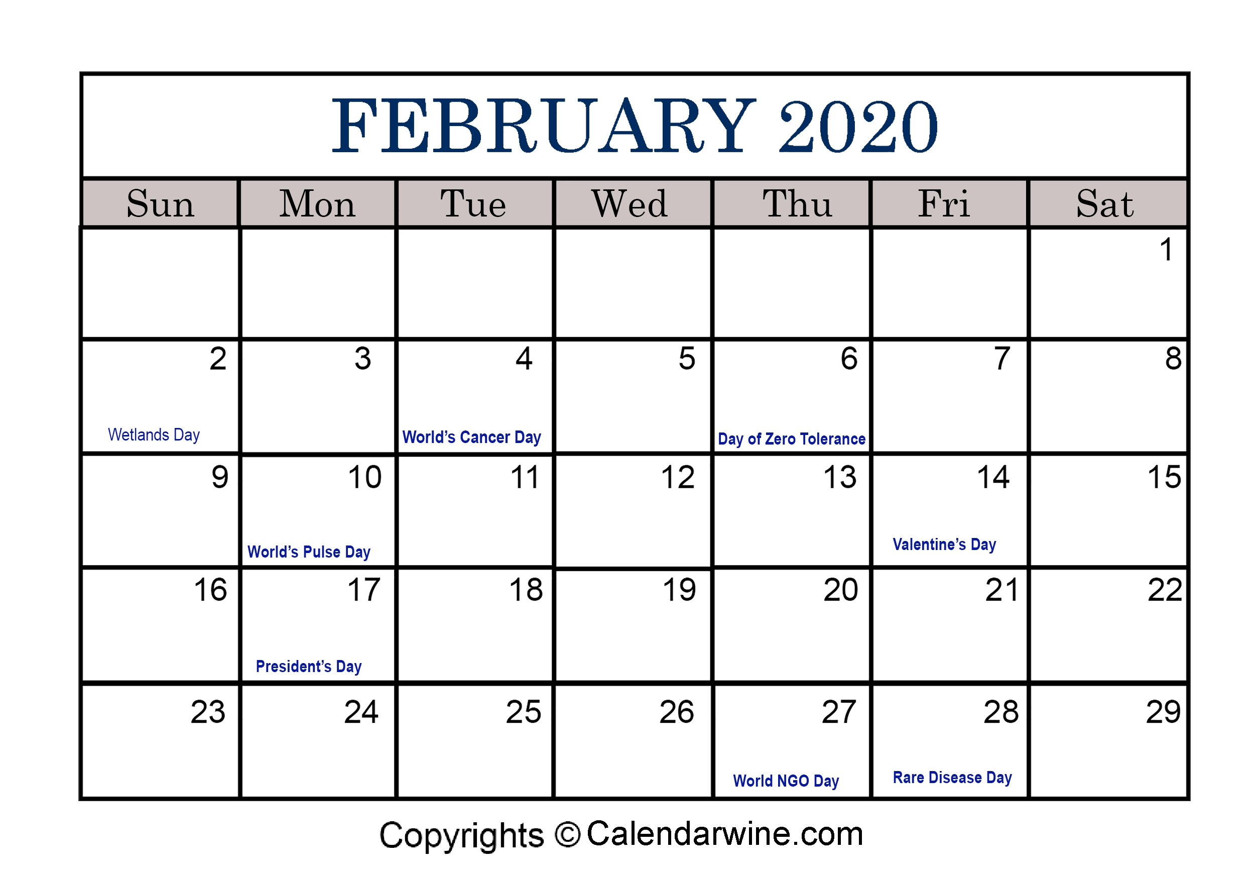 Full List Of February Holidays 2020 For Usa Uk Canada-2020 Monthly Calendars To Print With Jewish Holidays