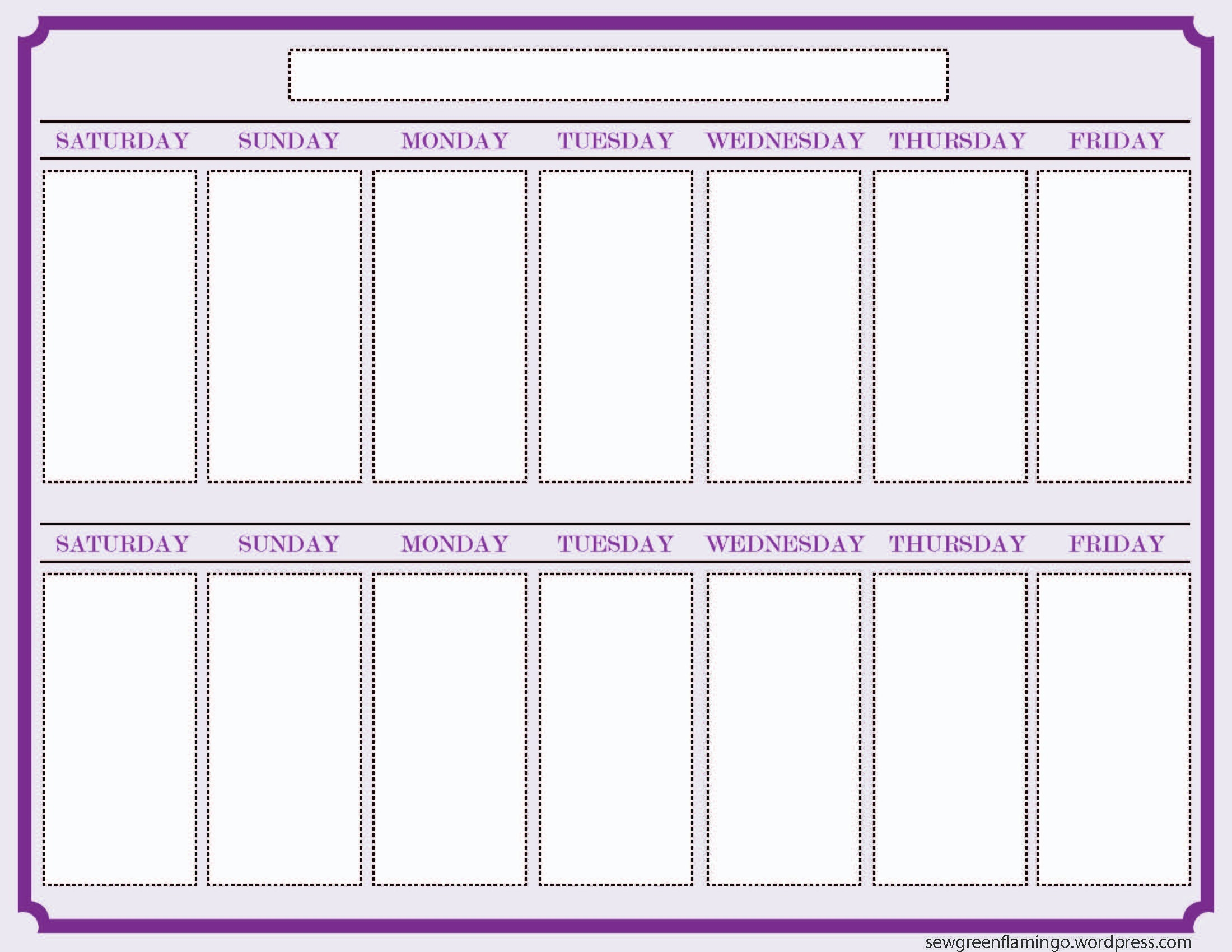 Getting Organized! 2-Week Planner | Blank Calendar Template-2 Week Schedule Template Printable