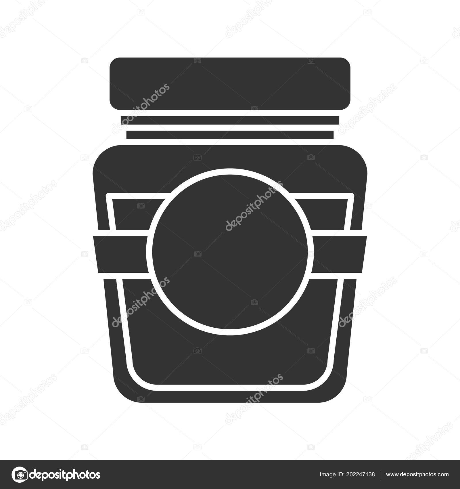 Glass Jar Blank Label Glyph Icon Silhouette Symbol Negative-Glyphicon Icon Is Blank