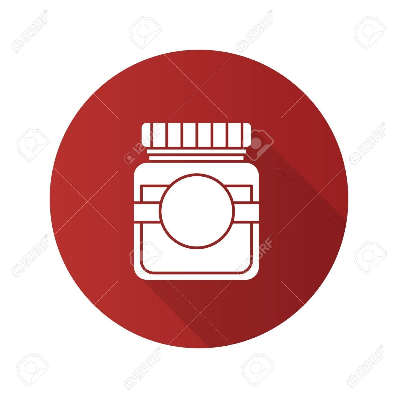 Glass Jar With Blank Label Flat Design Long Shadow Glyph Icon-Glyphicon Icon Is Blank