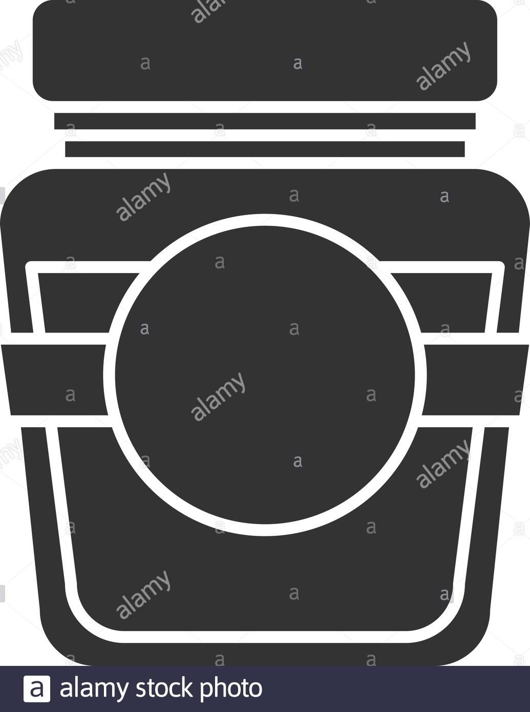 Glass Jar With Blank Label Glyph Icon. Silhouette Symbol-Glyphicon Icon Is Blank