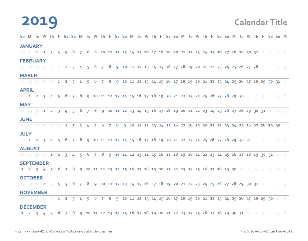 Horizontal Yearly Calendar Templates-Calendar Template By Vertex42