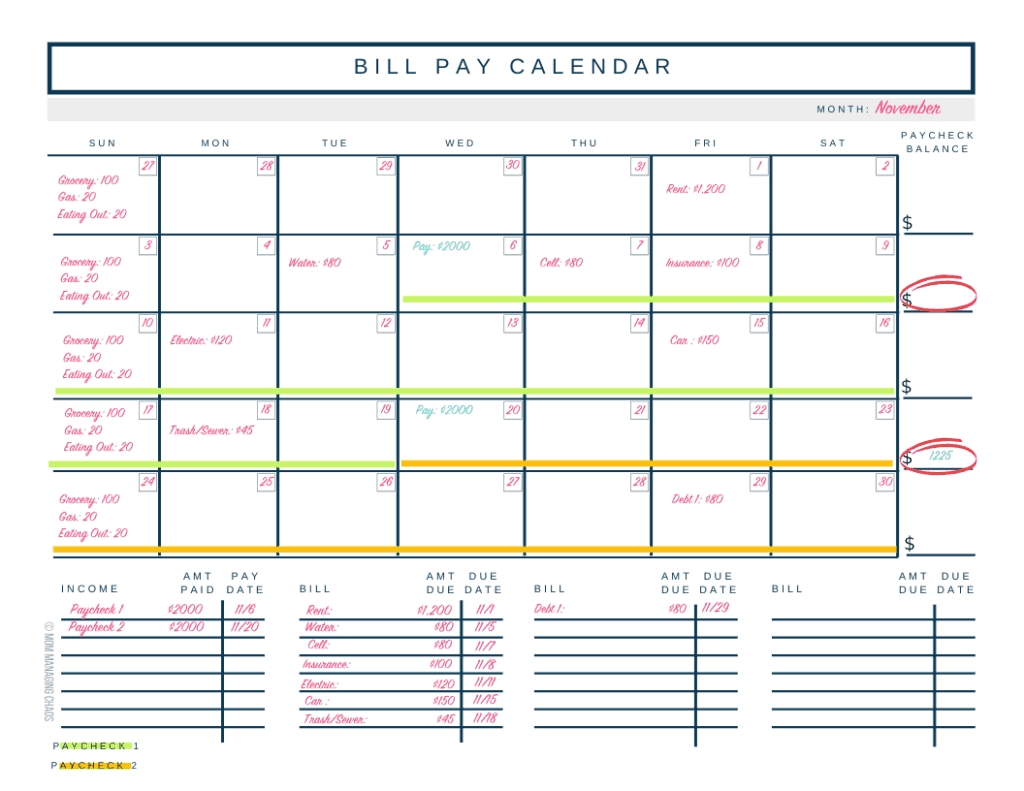 How To Budget Biweekly Pay + Paying Monthly Bills-Make A Monthly Bill Chart