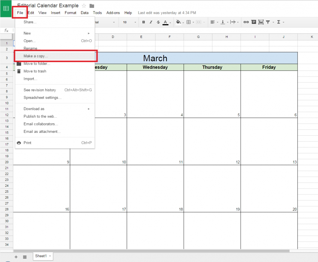 monthly calendar google sheets
