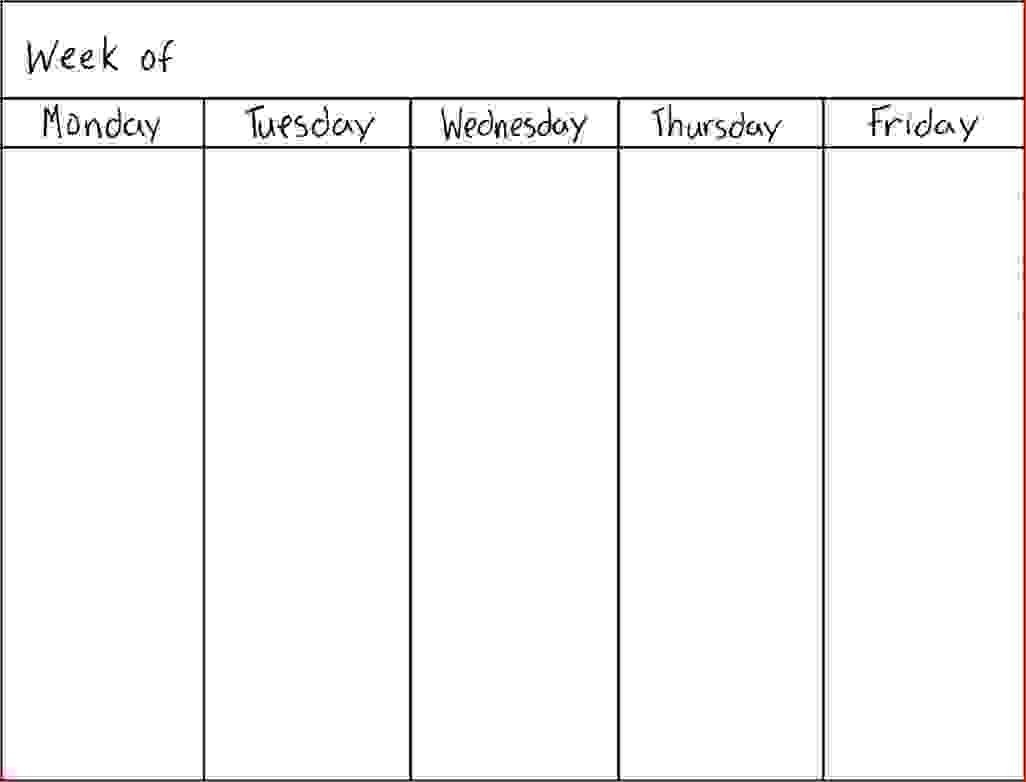 Https://goodsoptical/blank-Monthly-5-Day-Calendar-2018-5 Day Weekly Planner Template