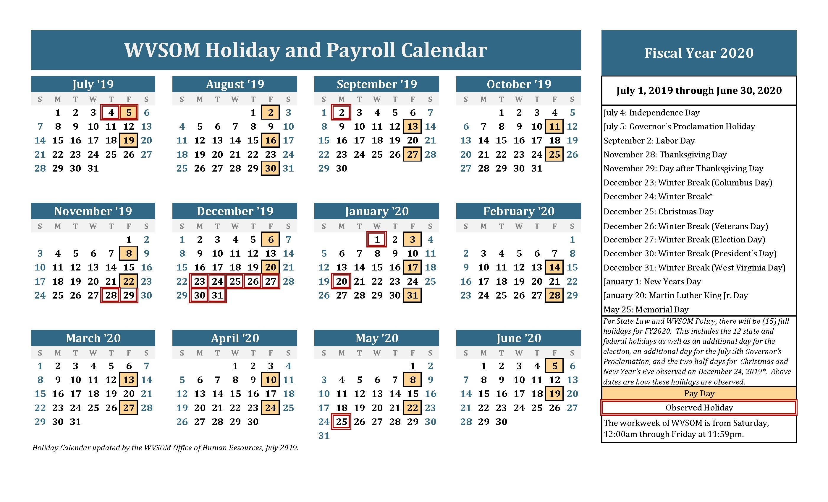 Human Resources - Holiday Calendar | West Virginia School Of-America School Holidays 2020 Calendar