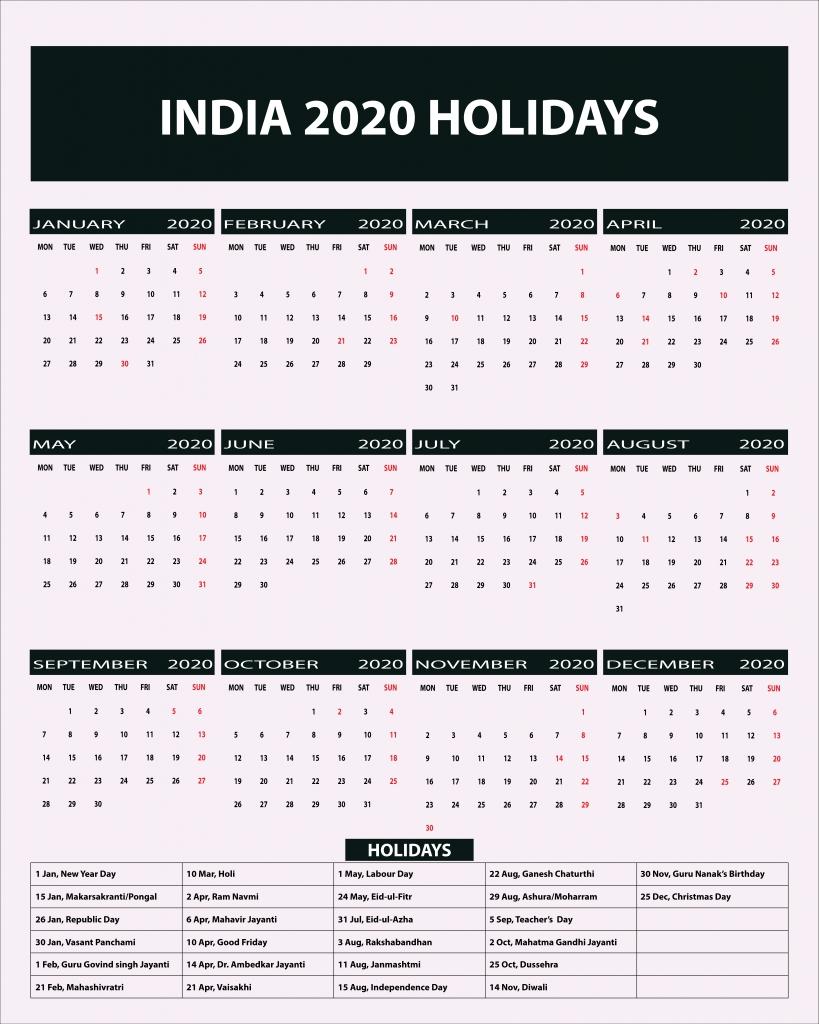 Indian Public Holidays 2020 Calendar | Indian Holidays 2020-2020 Calendar With Holidays In India Pdf