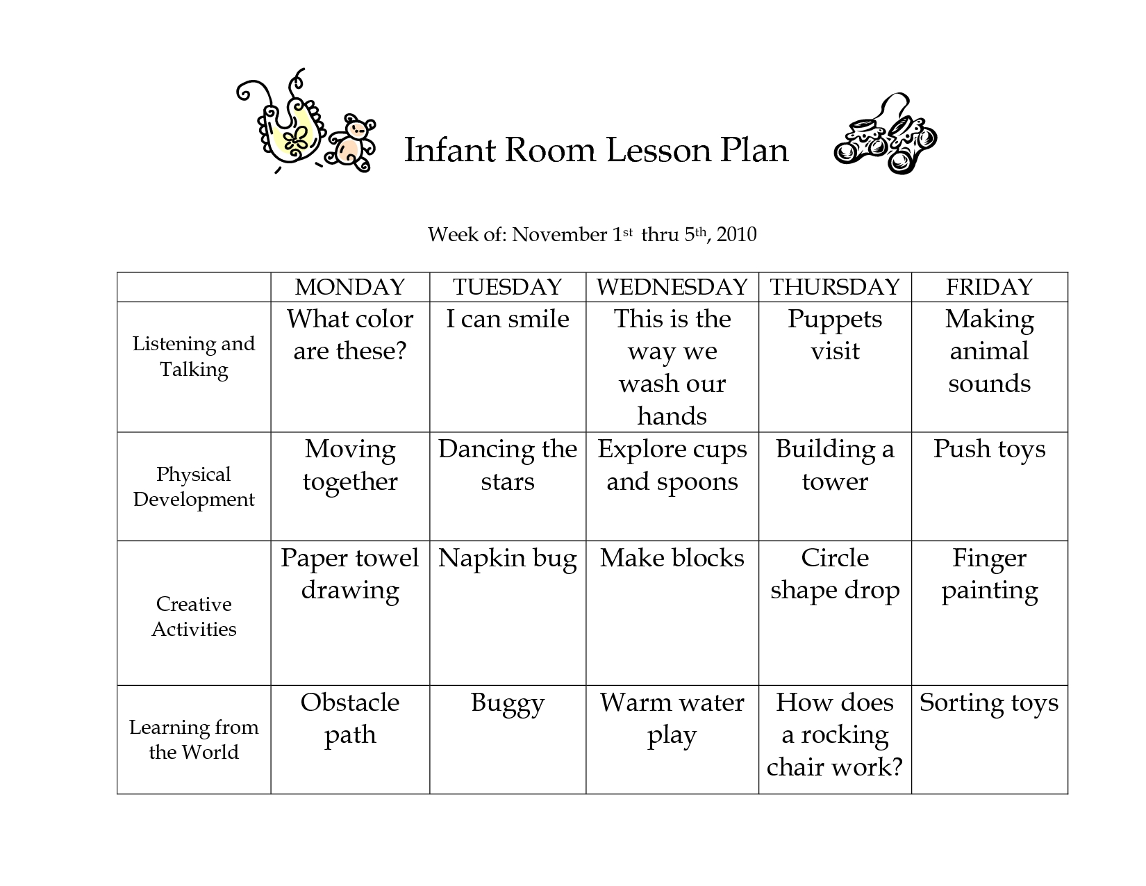 Infant Room Lesson Plan Week Of November 1St Thru 5Th_ 2010-Printable Template Childcare Lesson Plan 2020